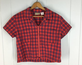 Vintage Womens 1990s Lizwear Zip Front Red & Blue Plaid Crop Top / Short Sleeve Jacket | Size S/M