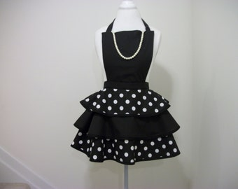 Little Black Apron w/Pearls