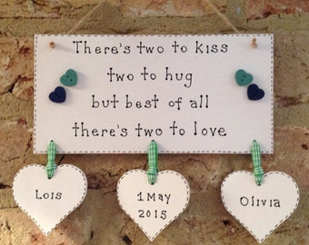 New baby/ twins birth plaque