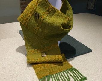 Handwoven Green & Mustard scarf