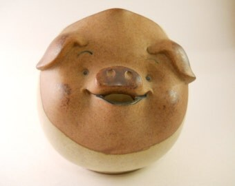 Happy Pig Stoneware Creamer Created by UCCTI UCTCI Japan Smooth Wonderful Piece