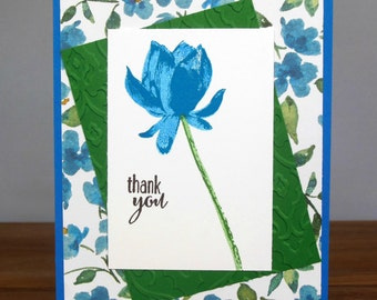 Thank You Card - Hand Stamped Blue Flower Thank You Card - Blue Flower Thank You Card - Homemade Thank you Card - Thank You Card