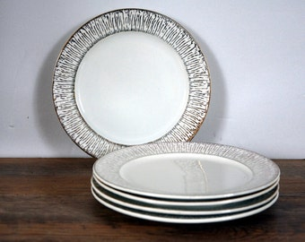 Set of 5 dessert plates, small dessert plates Sarreguemines, french tableware