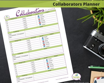 "Collaborators Planner Page- Project Collaborators Planner & Organizer - 1 page 8.5"" x 11"" Instant Download Printable Planner Page"