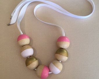Pink and gold wooden bead color block necklace