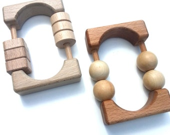Wood, rattle Montessori, toy wooden Baby Rattle