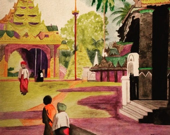 Vintage Watercolour Cambodia Travel Print