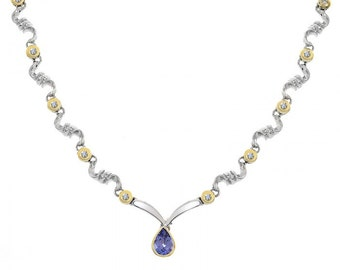 0.97 Carat Tanzanite One Drop and 0.35 Carat Diamond S-Shape Link 14K Two Tone Gold Necklace