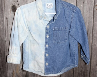 Kid's Bleached Denim Shirt, Dip-dyed Denim Shirt