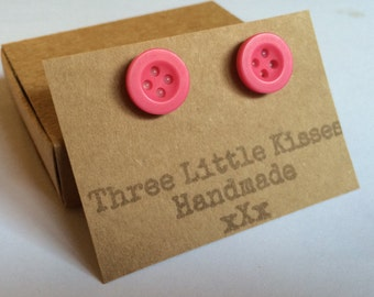 Hot Pink Button Earrings   Handmade Jewellery   Gifts for Her