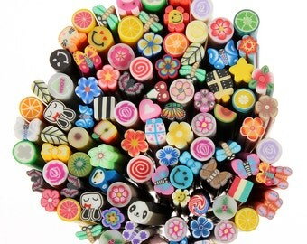 100 Nail Art Fimo Rods Sticker DIY Deco with Blade