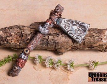Steampunk, Viking axe in polymer clay with tiny Thors hammer detail