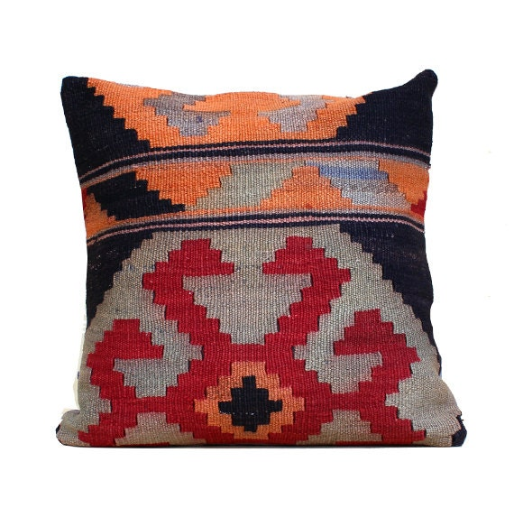Southwestern Pillow Case 20x20 Kilim Pillow Turkish Pillow Red