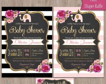 Baby shower invitation elephant, Elephant Baby Shower Invitation, Elephant Invitation, Elephant invites, Elephant, Pink, Black