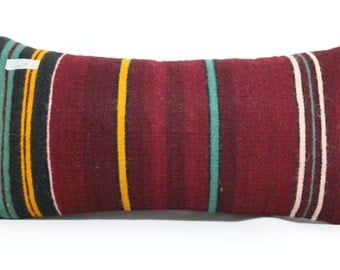 12x24 inches kilim pillow cover handwoven vintage Turkish kilim pillow lumbar kilim pillow cushion cover decorative pillows SP3060-448