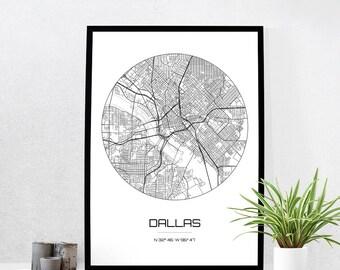 Dallas Map Print - City Map Art of Dallas Texas Poster - Coordinates Wall Art Gift - Travel Map - Office Home Decor