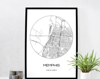 Memphis Map Print City Map Art Of Memphis Tennessee Poster Coordinates Wall Art Gift