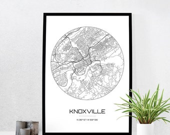 Knoxville Map Print City Map Art Of Knoxville Tennessee Poster Coordinates Wall Art Gift