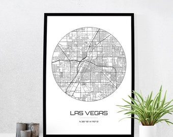 Las Vegas Map Print - City Map Art of Las Vegas Nevada Poster - Coordinates Wall Art Gift - Travel Map - Office Home Decor
