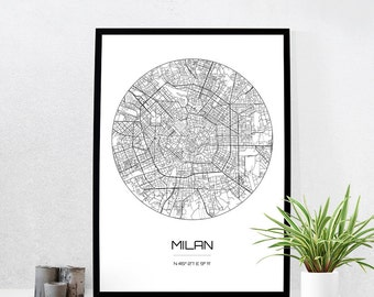 Milan Map Print - City Map Art of Milan Italy Poster - Coordinates Wall Art Gift - Travel Map - Office Home Decor