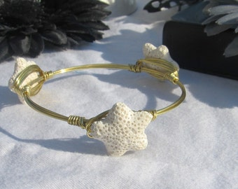 White Lava-rock Starfish Stones Gold toned Wire Wrapped Bangle Bracelet