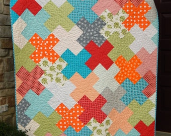Modern Lap Quilt for Sale, Quilted Throw, Red Blue Green Blanket, Ready to Ship