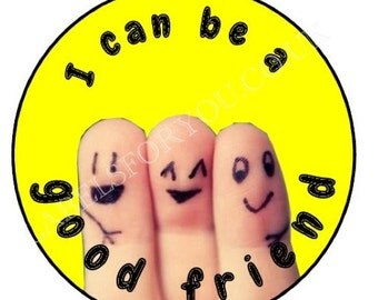 35 x 37mm Personalised I Can Be A Good Friend Stickers Labels