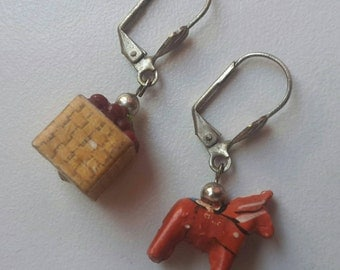 Handmade Wood Orange Horse and Basket Earrings