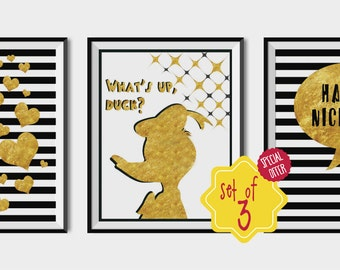 Set of 3 posters, Gold foil wall art, Gold Black White, Have a nice day, Heart print, Black gold pattern, Minimalist poster, donald duck