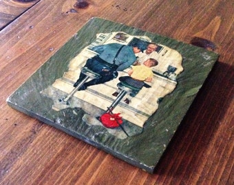 "Retro Norman Rockwell ""The Runaway"" Saturday Everning Post Decoupage Slate Pot Holder trivet coffee cup coaster tile illustration art"