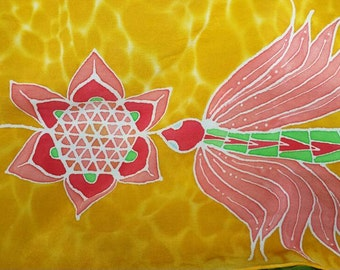Sacred Silk Scarf | Hand painted | One of a kind design | Golden Lotus Serpent | Altar | Pagan sacred silks | Unisex