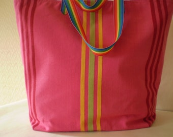 Shopper, Market Bag, Tote, Beach Bag, Bright Pink and Lime Green