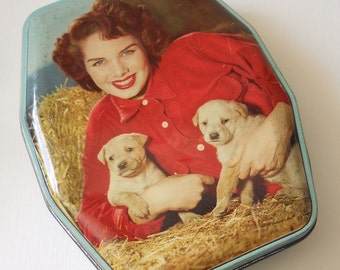 1960s George W. Horner Toffee Tin - Kitsch Lady with Puppies Photo Lid