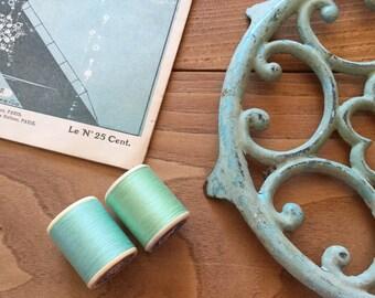 Gorgeous Green  French Vintage Thread Spools