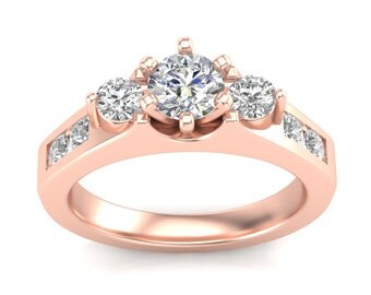 Rose Gold Three-Stone Engagement Ring with .50ct Round Diamonds, Semi Mount for Adjustable Head 1ct Round Center Brand New 14K Setting Only