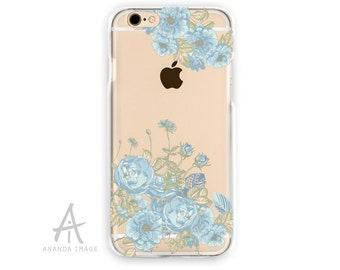 iPhone 6S Case, Floral Transparent iPhone 6 Case,  Blue roses  TPU Case 6/6S pluss, Clear with Design Case iPhone SE, iPhone 5/5S, T-106