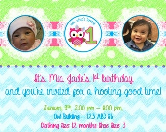 Look Whoo's Turning 1 Green, Blue & Pink Birthday Invitation