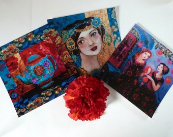 Art cards portraits of women and teapot, postcards to send, or frame