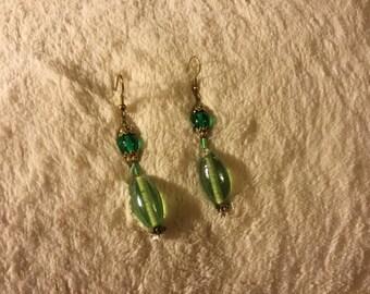 Pretty handmade green and gold dangle earrings