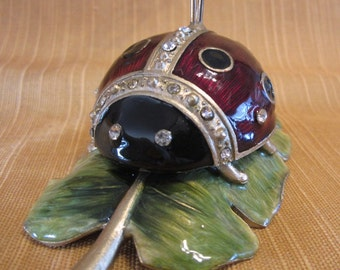 Ladybug Decor Cards Photos Holder, Brass Enamel Office Decor