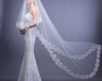 Bridal veil Bride veil Wedding vail Lace veil White bridal veil White wedding veil wedding veils Cathedral veil Head veil
