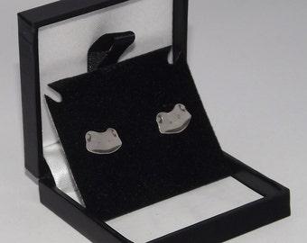 Frog Stud Earrings, Sterling Silver