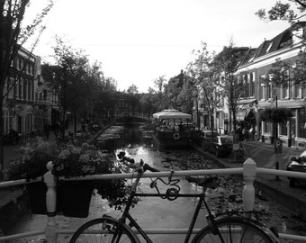Black and White Photography: Delft Canal Black and White Photographic Print
