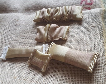 Vintage Dollhouse Gold Valances and Pillows