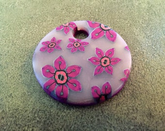 Fimo rose flowers pendant
