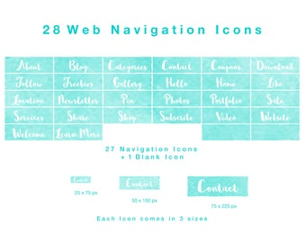 28 Web Navigation Icons -White on Turquoise Watercolour - PNG files, Instant Download