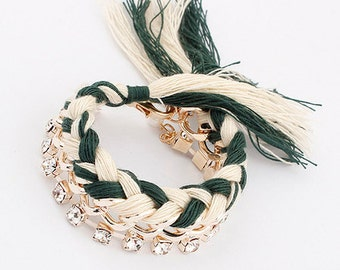 Cotton Crystal Braided Bracelet