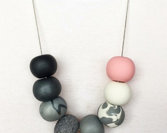 Monochrome Ombré with Pastel Pink Polymer Clay Necklace