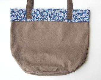 Boho bag, canvas tote bag, brown bag, eco bag, shoulder bag. Eco friendly, organic cotton canvas bag,organic linen lining, screen print.