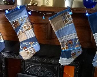 Blue Patchwork Christmas Stocking